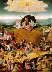 """Das Bild 'Der Heuwagen' von Hieronymos Bosch gibt das flämische Sprichwort.  """"Die Welt ist ein Heuhaufen – ein jeder pflückt davon, soviel er kann."""" wieder.  © gemeinfrei."""