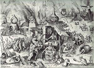 Die sieben Todsünden. Der Geiz. Pieter Brueghel der Ältere (1526/1530–1569). © public domain.