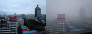 Peking an einem Tag nach Regen (links) und einem sonnigen Tag mit Smog (rechts). Bobak. CC BY-SA 2.5