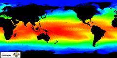 Meerestemperaturen Typische Verteilung der Oberflächentemperaturen im Meer. Warmes Wasser ist rot, kaltes Wasser ist blau gefärbt. © NOAA/Los Alamos National Laboratory.