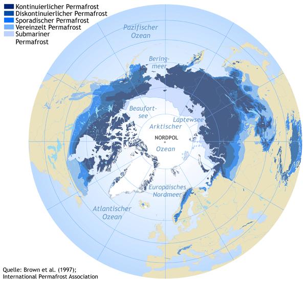 Permafrost Regionen auf der Nordhalbkugel Rund ein Viertel der Landoberfläche auf der Nordhalbkugel ist dauerhaft gefroren. Diese Permafrostregionen werden von Wissenschaftlern in Gegenden mit (1) kontinuierlichem Permafrost, (2) diskontinuierlichem oder unstetem Permafrost oder (3) vereinzeltem Permafrostaufkommen eingeteilt - je nachdem, welch größer Anteil der Landfläche wirklich gefroren ist. © Hugues Lantuit, Alfred-Wegener-Institut