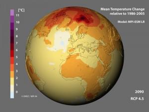 Prognosen ohne systematische Fehler: Klimamodelle, wie das Modell MPI-ESM LR des Max-Planck-Instituts für Meteorologie, sagen bis zum Ende dieses Jahrhunderts eine deutliche Erwärmung vor allem an den Polen voraus. Die Erwärmungspause, die Klimaforscher seit der Jahrtausendwende beobachten, sagt allerdings kein Modell voraus. Das liegt allerdings nicht an systematischen Fehlern der Modelle, sondern an zufälligen Schwankungen im Klimasystem. Die Vorhersagen der Modelle sind im Rahmen der statistischen Unsicherheit also zuverlässig. © MPI für Meteorologie / Deutsches Klimarechenzentrum (DKRZ)