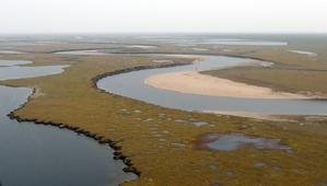 Blick auf das Lena-Delta. Dieses Foto entstand während einer Arktisexpedition der AWI-Permafrostforscher im Sommer 2012. © Volkmar Kochan/rbb