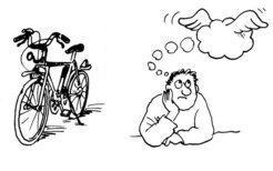 """Ein Bild erleichtert das Lernen: Unser Gehirn prägt sich die Worte für """"Fahrrad"""" und """"Gedanke"""" in einer fremden Sprache leichter ein, wenn es zusätzlich mit den entsprechenden Bildern konfrontiert wird. © MPI f. Kognitions- und Neurowissenschaften/ v. Kriegstein"""