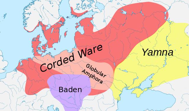 Ausbreitung der Schnurkeramik-Kultur. Coded Ware = Schnurkeramik. Yamna = Jamnaja. © Dbachmann. Wikimeida Commons. CC BY-SA 3.0