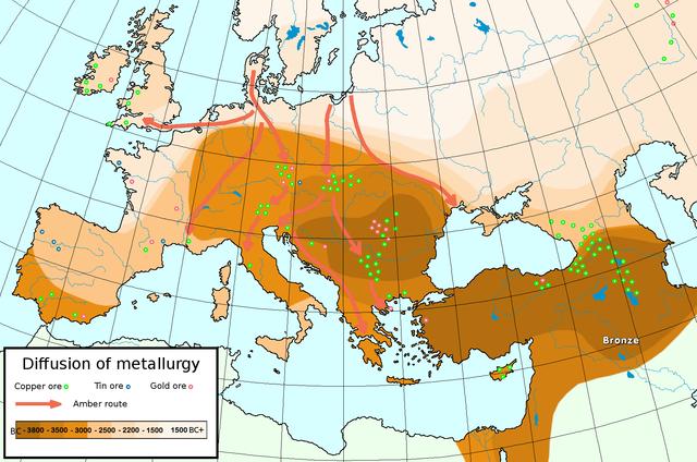 Ausbreitung der Metallverarbeitung in Europa und Vorderasien, die dunkleren Areale sind die historisch älteren Regionen mit Metallherstellung. © public domain.