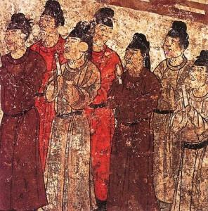 Eunuchen hatten oft eine Privilegierte Stellung bei Hofe, wie diese Darstellung von Eunuchen in einem Grab eines chinesischen Prinzen aus dem 8 Jahrhundert vor Chr. beweist. © gemeinfrei.
