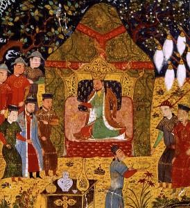 Unter Dschingis Khan, hier die Thronbesteigung im Jahre 1206, filen die Mongolen in Europa ein. Noch heute finden sich Spuren dieser Invasion im Erbgut heute lebender Europäer. © gemeinfrei.