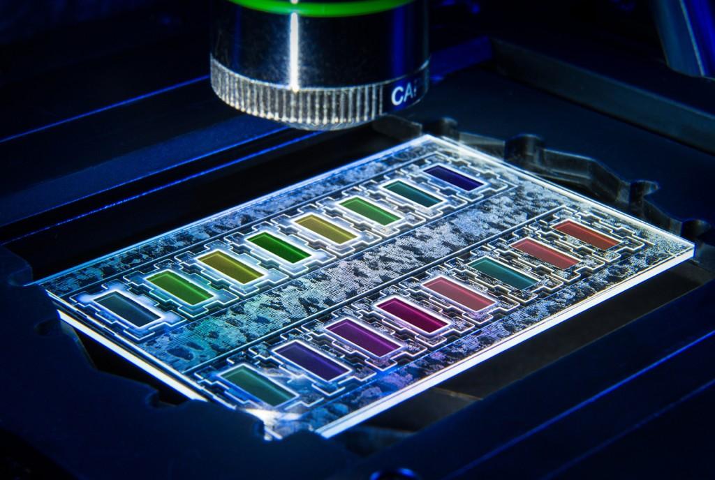 Miniaturisierter Wachstumschip zur Erkennung  bakterieller Resistenzen. © Volker Lannert, Fraunhofer FIT