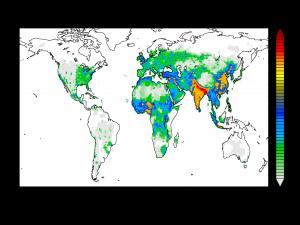 Tödliches Weiter so: Wenn die Luftverschmutzung wie bisher mit wachsender Bevölkerung und steigender Wirtschaftskraft zunimmt, wird die Zahl der Menschen, die aufgrund der Schadstoffe in der Luft sterben, vom Jahr 2010 bis zum Jahr 2050 deutlich steigen. Das haben Berechnungen eines internationalen Teams um Forscher des Max-Planck-Instituts für Chemie ergeben. Die Farbskala steht für den Zuwachs an Todesfällen aufgrund einer zu erwartenden stärkeren Luftverschmutzung: weiß – keine Zunahme; rot – 9000 Todesfälle mehr pro Jahr.