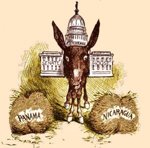 Karikatur aus dem 19. Jahrhundert zur US-Politik. Die Regierung muss wirtschaftliche Einbußen hinnehmen, weil sie sich nicht entscheiden kann, einen Kanal durch Panama oder durch Nicaragua zu bauen.© public domain.