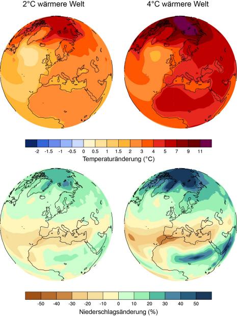 Änderungen von Temperatur und Niederschlag im Jahresmittel in einer zwei und einer vier Grad wärmeren Welt. (Illustration: ETH Zürich / Reto Knutti)