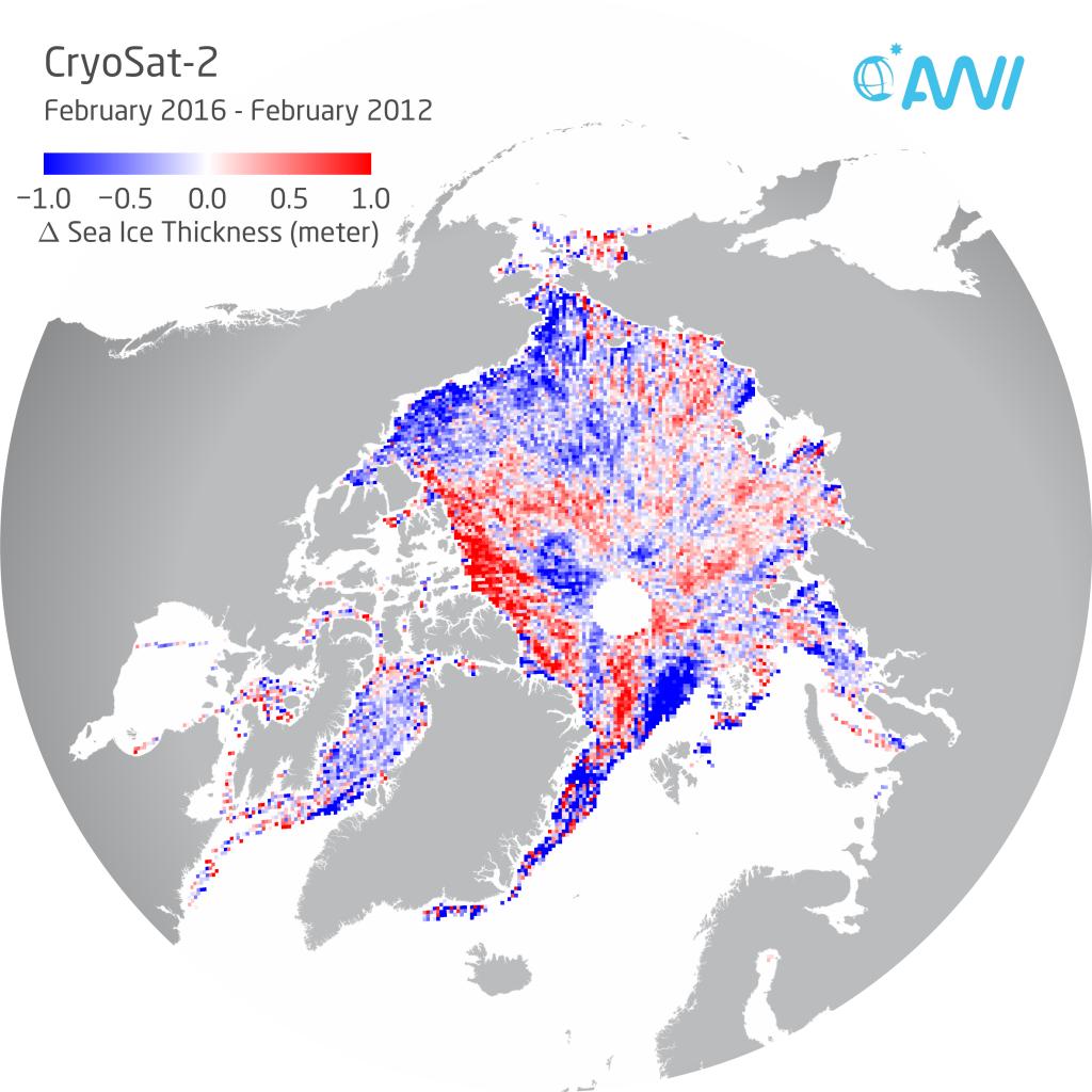 Diese Karte zeigt, in welchen Regionen der Arktis die Meereisdicke im Febru- ar 2016 dünner (blau) oder dicker (rot) war im Vergleich zum Februar 2012. Grafik: Alfred-Wegener-Institut/Stefan Hendricks