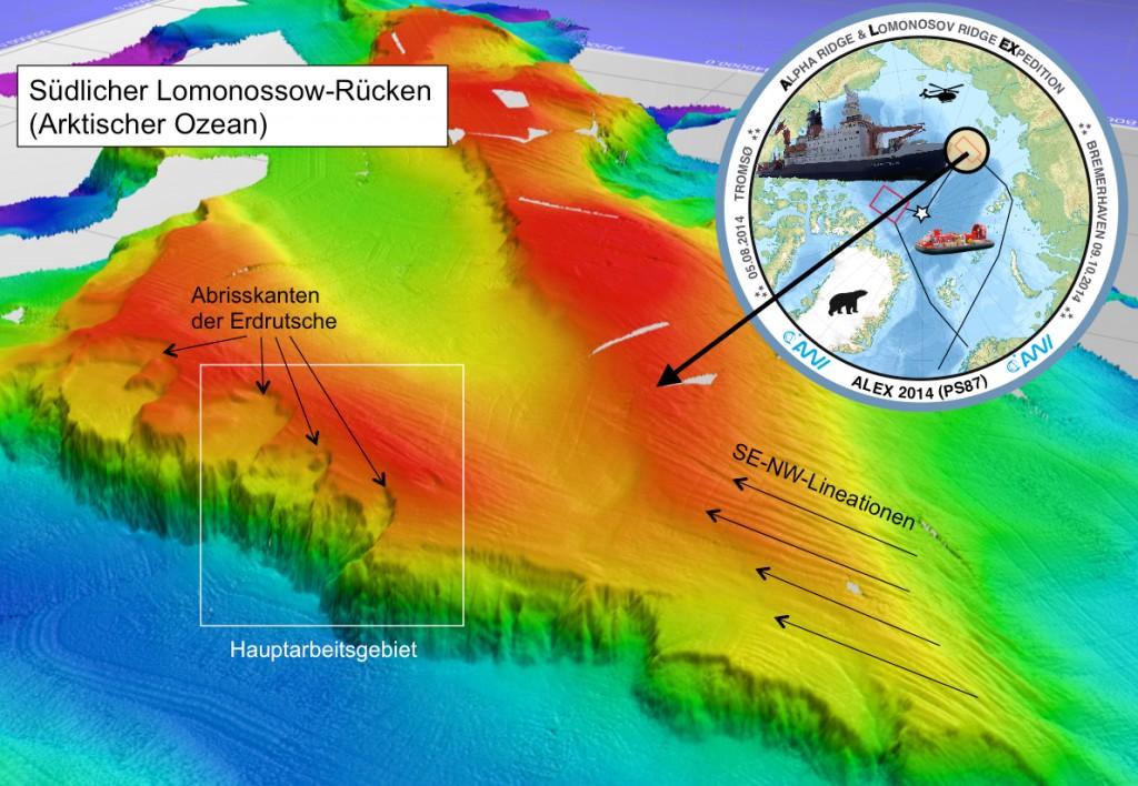 Bathymetrische Darstellung jenes Westhanges des Lomonossow-Rückens, an dem die einzigartigen Sedimentkerne gewonnen werden konnten. Foto: Alfred-Wegener-Institut