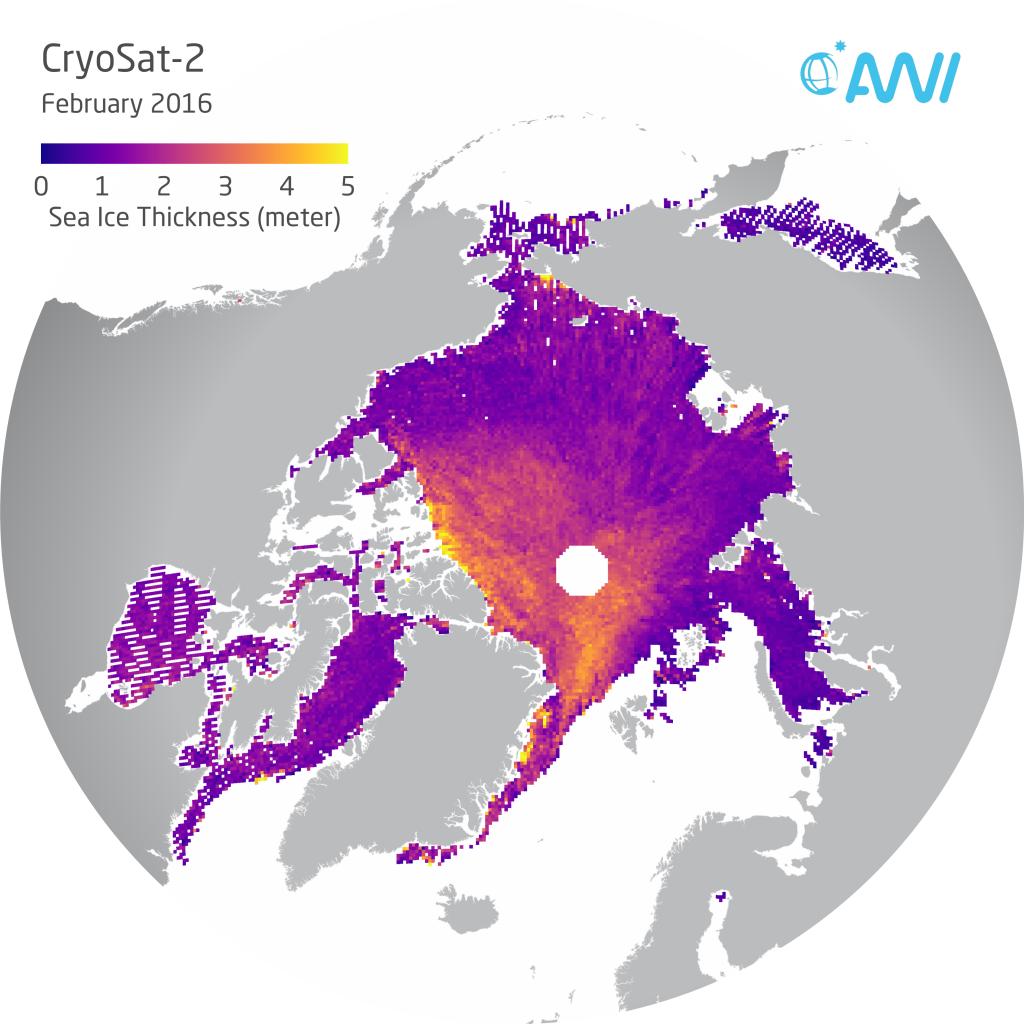 Darstellung der CryoSat-2-Meereisdickendaten für den Monat Februar 2016. Grafik: Alfred-Wegener-Institut/Stefan Hendricks