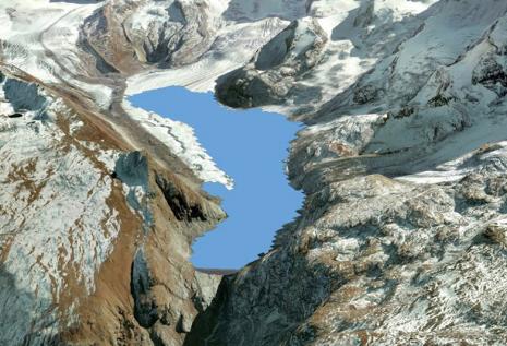 Ein Modell des Gornergletschers bei Zermatt mit virtuellem Stausee, visualisiert in Google Earth. © Daniel Farinotti / WSL Birmensdorf