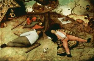 Ein zu Viel an Nahrung bringt unseren Stoffwechsel aus dem Tritt. Um Folgeerkrankungen zu vermeiden könnte Intervallfasten helfen. © Pieter Breughel der Ältere. 1567. Schlaraffenland, public domain.