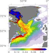 Ausbreitung des Grönland-Schmelzwassers. Die heutige Verteilung des seit 1990 zusätzlich eingeflossenen Schmelzwassers illustriert den südwärtigen Export entlang des amerikanischen Kontinents. Die Farbskala zeigt Kubikmeter Schmelzwasser pro Quadratmeter Ozeanoberläche. © Ozeanmodellierungsgruppe GEOMAR