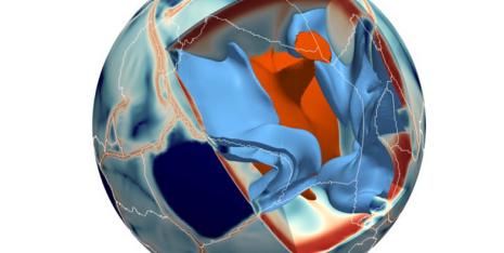 Ein neues Modell zeigt, wie Konvektionsströme im Erdmantel das Gesicht der Erde prägen. © Paul Tackley / ETH Zürich