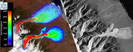 Links: maximale Abflusshöhe beider Lawinen simuliert mit der am SLF entwickelten Software RAMMS. Rechts: Ablagerungsmuster der realen Lawinen, aufgenommen mit dem Satelliten TerraSAR-X (DLR) am 24. September 2016.