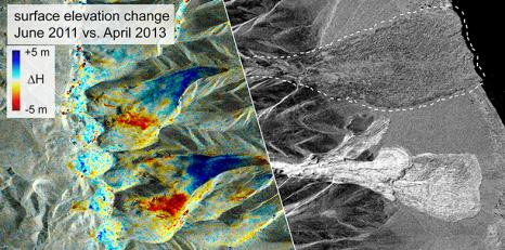 Links: Die Karte zeigt die für einen «Surge» charakteristischen Höhenänderungen beider Gletscher vor ihrem Kollaps. Rechts: Auf einem Radarbild vom 24. September 2016 sind beide Lawinen zu sehen. (Bild: Silvan Leinss/ETH Zürich; Quelle der Satellitendaten: TanDEM-X/TerraSAR-X, DLR)