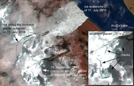 Das Satellitenbild vom 19. September 2016 zeigt eine mehrere Kilometer lange Anrisslinie, welche auf den bevorstehenden Abbruch des südlichen Gletschers hinweist. (Bild: Silvan Leinss/ETH Zürich; Satellitendaten: «Sentinel 2», ESA.)