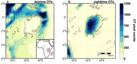 Die Grafik veranschaulicht den Tag-/Nachtrhythmus des Wetters über dem Victoriasee und der Umgebung (Tagbild links, Nachtbild rechts). Je dunkler das Bild, desto mehr Stürme traten zwischen 2005 und 2013 an der betreffenden Stelle auf. © ETH Zürich/Wim Thiery