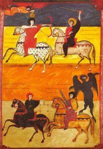 Die vier Reiter der Apokalypse. Werk: Beato de Fernando I Doña Sancha, datiert auf 1047 n. Chr. Apoc. VI, 1–8f. 135; shelf 14-2 National Bibliothek, Madrid. © gemeinfrei. Wikimedia